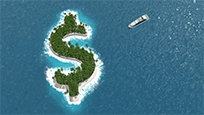 Image of an island in the shape of a dollar sign